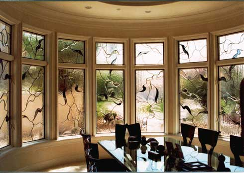 Contemporary Beveled Leaded Glass Work From Stained Glass Woodland Hills and Silva Glassworks